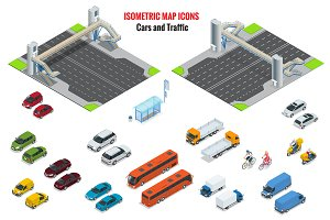 Isometric vector cars and traffic