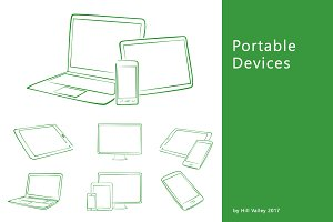 Hand drawn digital devices in green