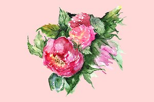 Watercolor floral peony composition