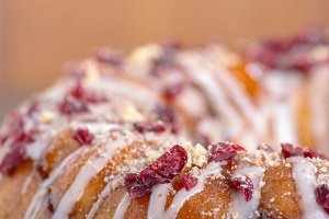 Hazelnut cranberry cake with icing