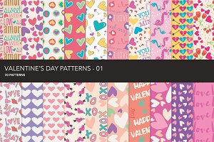 Valentine seamless patterns - 01