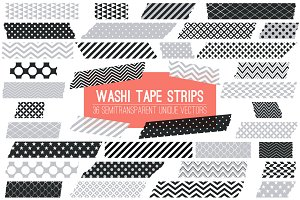 Vector Washi Tape Strips Black Grey