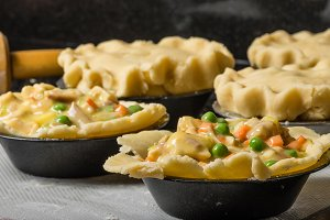 Pot pies prepared for baking