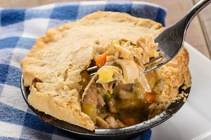 Turkey pot pie with fork