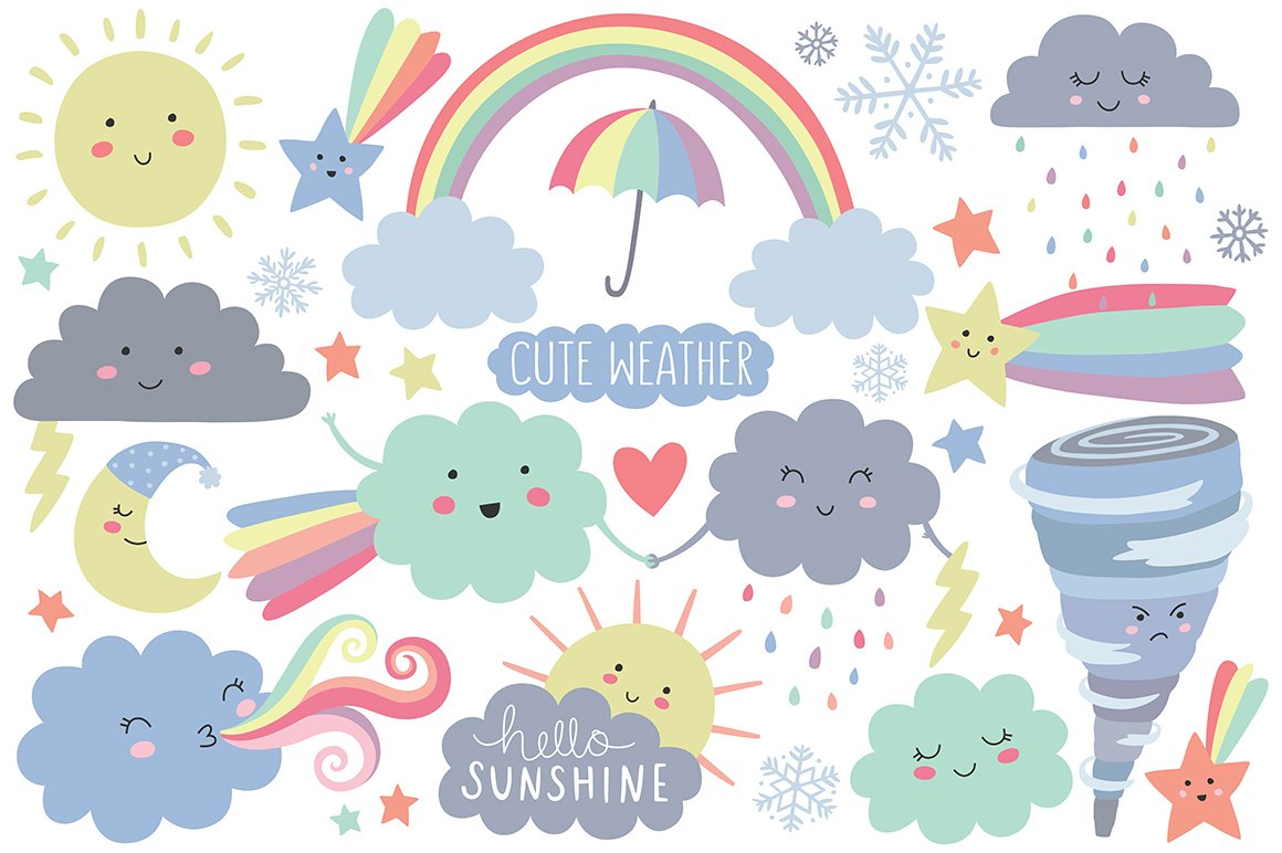 Cute Weather Design Elements Clipart ~ Illustrations ~ Creative Market