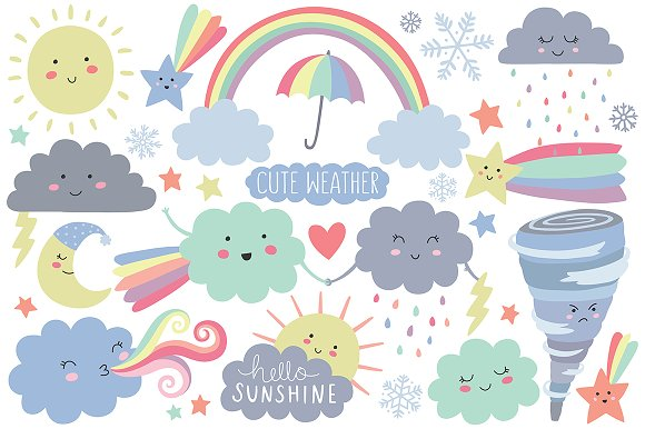 Cute Weather Design Elements Clipart ~ Illustrations on Creative ...