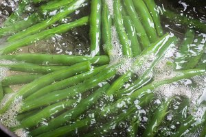 Green beans boiling in water