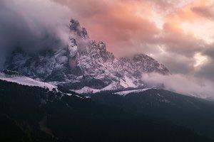Mountain Sassolungo at sunset
