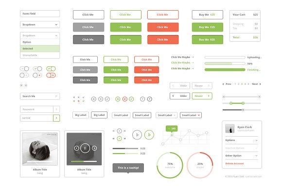 virb templates - flat stroke ui kit web elements creative market