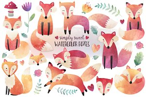 Watercolor Fox Clipart Bundle