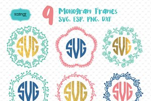 9 hand drawn monogram svg