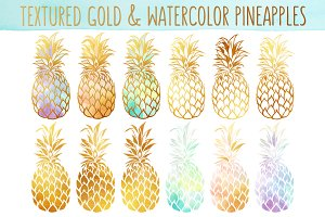 Watercolor & Gold Pineapples Bundle