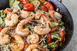 Shrimp and Noodle Stir-Fry