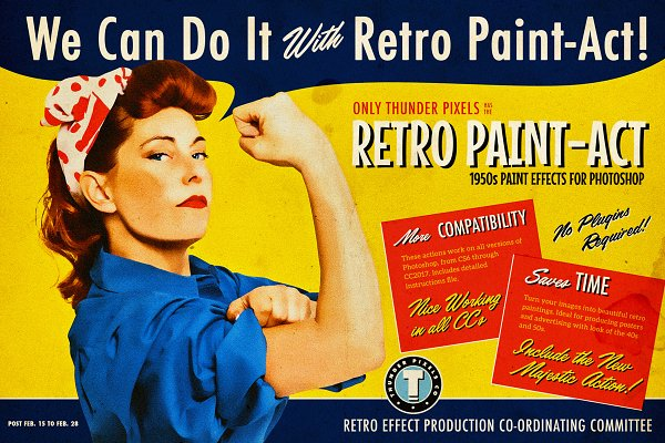 Retro Paint-Act - PS Action + Kit
