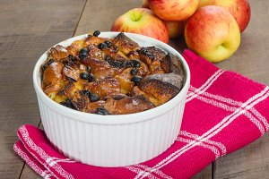 Apple bread pudding in bowl