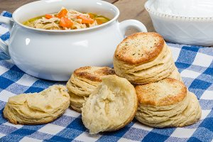 Chicken soup and biscuits