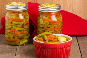 Hot pepper slices in jars