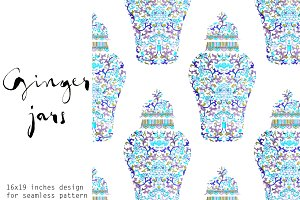 Seamless Pattern - Ginger Jars