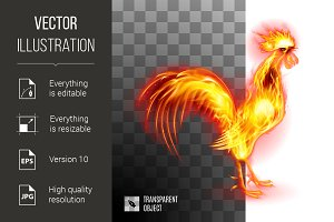 Fiery Golden Rooster