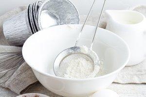 flour,cocoa,eggs,milk closeup