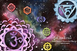 Chakras hand painted clip art
