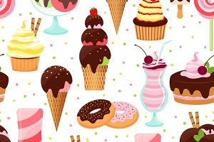 Ice cream and sweets pattern