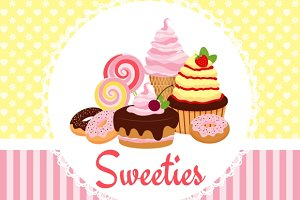 Greeting card template with sweets