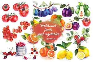 Set Watercolor Fruits And Vegetables