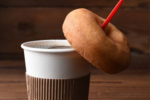 Coffee and Donut Paper Cup and Spoon