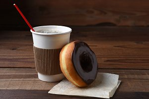 Chocolate Donut and Coffee Cup