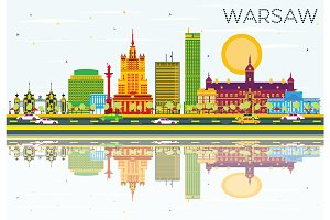 Warsaw Skyline with Color Buildings