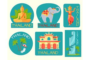 Thailand Poster of Cards with Symbolic Signs.