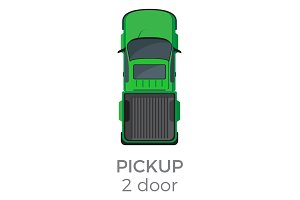 Two Door Pickup Top View Flat Vector Icon