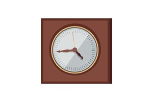 Wall Clock Vector Illustration in Flat Design