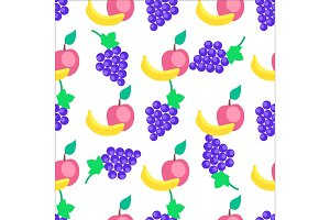 Colorful Fruits Cartoon Vector Seamless Pattern