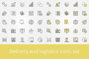 Delivery and logistics icons set