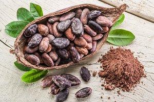 Cocоa pod and cocoa beans