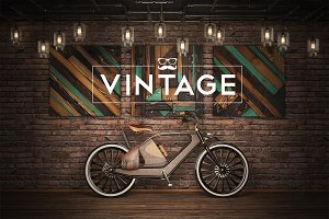 Vintage bicycle in loft style.Mockup