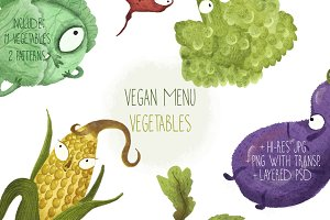 Vegan Menu Watercolor Vegetables