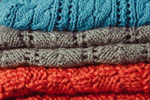 Knitted clothes stack