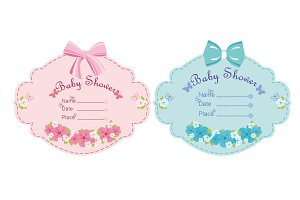 Baby girl  and baby boy shower card.