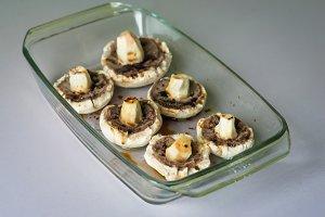 raw mushrooms in glass