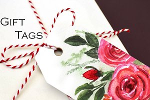 10 watercolor retro tags