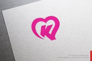 Colorful Letter K Heart Logo