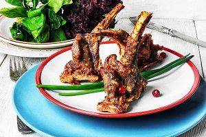 dish of baked lamb ribs