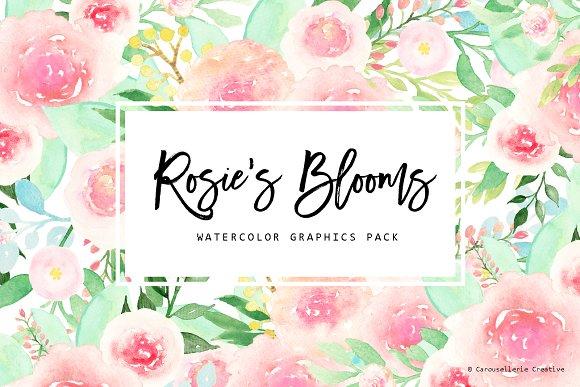 Rosies blooms watercolor flowers illustrations creative market rosies blooms watercolor flowers illustrations mightylinksfo