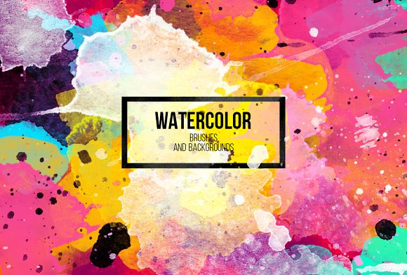 Watercolor brushes+design elements