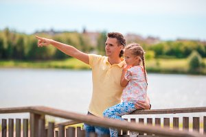Father and little girl enjoying beautiful views in Europe