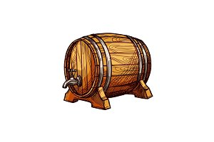 Wooden barrel sketch for alcohol drink design