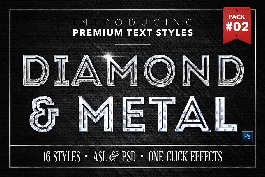 Diamond & Metal #2 - 16 Text Styles ~ Photoshop Add-Ons ~ Creative